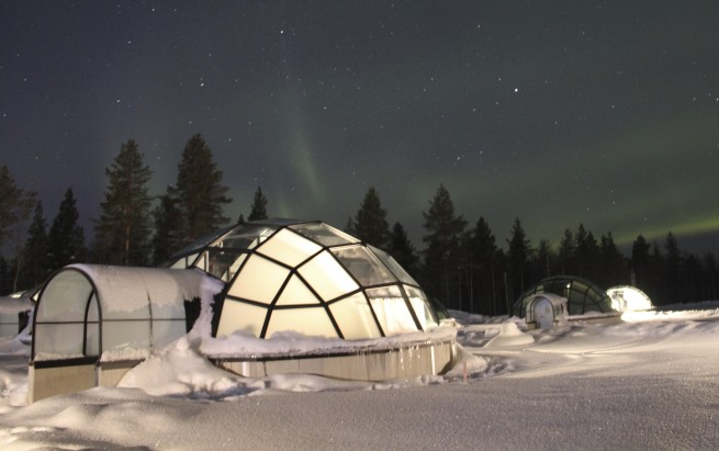 Share an igloo for two with a private flight to Finland
